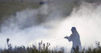 Personal del Infoca actúa en el conato de incendio que ha afectado a Marismas del Odiel. (Julián Pérez).