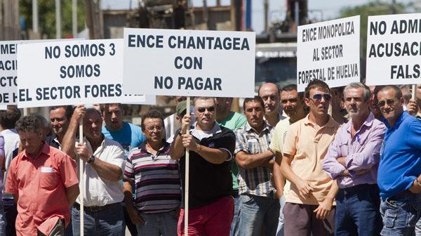 Protestas de empresas madereras a las puertas de Ence. (Foto: Julián Pérez)