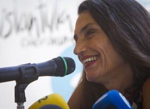 Ángela Molina, durante la rueda de prensa que ha protagonizado. (Julián Pérez)