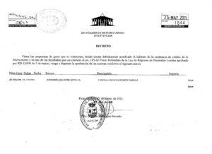 Documento del Ayuntamiento de Punta que acredita la concesión del dinero.