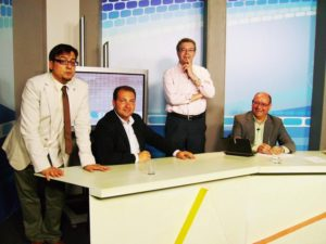 Javier Berrio, David Toscano, Fernando Infante y Rafael Unquiles, en un programa de La Lupa de Canal Luz TV.