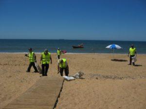 Limpieza en la playa del Espigón.