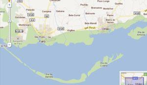 Mapa de la Isla de Culatra en el Algarve.