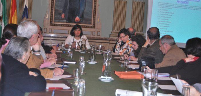 Juani Carrillo preside una renión de la Concejalía de Mayor.