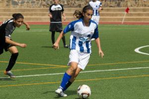 La jugadora del Cajasol Sporting Virgy en el partido ante Alcaine. (Juanma Arrazola)