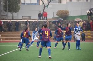 Partido entre el Cajasol Sporting y el FC Barcelona.