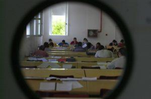Alumnos durante las pruebas de Selectividad en la Universidad de Huelva.