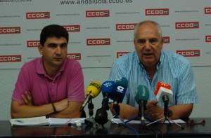 Responsables de CCOO en Huelva y a nivel andaluz.