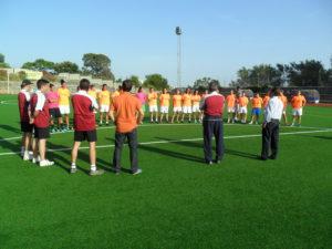 Plantilla del Cajasol Sporting durante un entrenamiento.