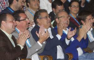 Responsables del PP de Huelva con Zoido, que dejará la Presidencia regional en el próximo congreso.