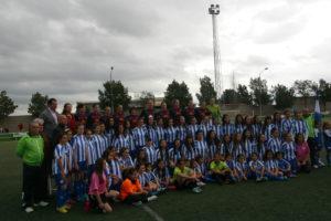 Cajasol Sporting y su cantera ante el FC Barcelona.