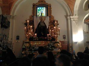 La imagen de la Soledad, en la parroquia de la Concepción.