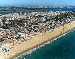 Vista aérea de la playa de Punta Umbría.