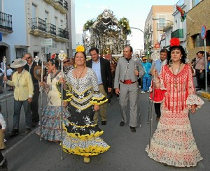 Llegada de la hermandad del Rocío a San Juan.