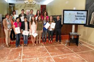 Los becados, en la Diputación de Huelva.