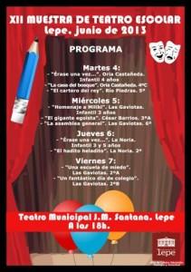 Cartel del certamen de teatro escolar en Lepe.