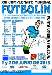 Cartel del Mundial de futbolín en Punta Umbría.