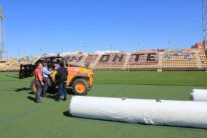 Nuevo césped artificial en el estadio 'Ciudad de Ayamonte'.