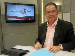 Juan Carlos Lagares, durante la entrevista en el programa Huelva Hoy de CNH TV.