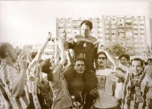 Celebración del ascenso a Segunda división en 1998.