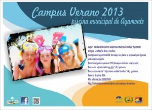 Cartel del Campus de verano de natación de Ayamonte.