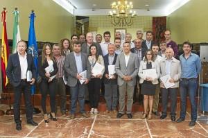 Caraballo junto a los representantes municipales de las localidades a las que se les han preparado los proyectos.