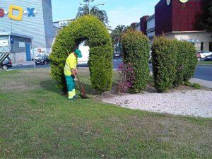 Un operario trabaja en el mantenimiento de los jardines.