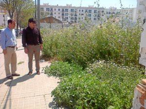 El portavoz del grupo socialista en el Ayuntamiento en una parcela llena de maleza en la capital.