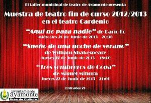 Cartel de las actuaciones teatrales.