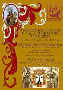 Cartel con los actos del Carmen en Huelva.