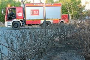Uno de los camiones de bomberos que han intervenido. (José Carlos Sánchez-Multimagenestudio)