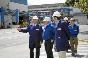 Visita del presidente de la Diputación a las instalaciones de Atlantic Copper.
