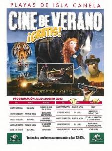 Cartel de Cine de Verano en las playas de Ayamonte.