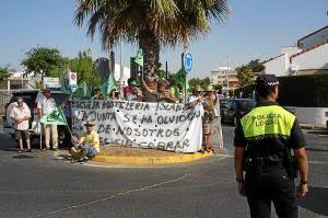 Imagen de archivo de una de las protestas de los trabajadores de la Escuela de Hostelería de Islantilla.