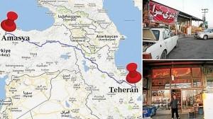 Mapa de la cuarta ruta. Arriba, una tienda de la ciudad de Zanjan, en el norte de Irán. Debajo, área de servicio en una de las autopistas que recorren el país.