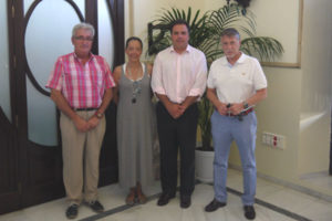Miembros del Recreativo en San Juan del Puerto.