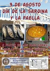 Cartel de la invitación a sardinas y paella.