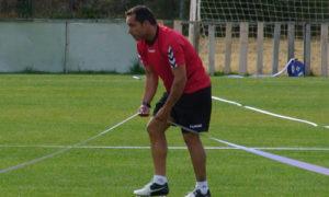Sergi Barjuan, técnico del Recreativo, en un entrenamiento.