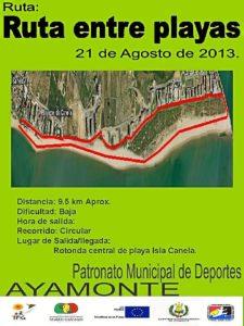Cartel de la ruta entre playas en Ayamonte.