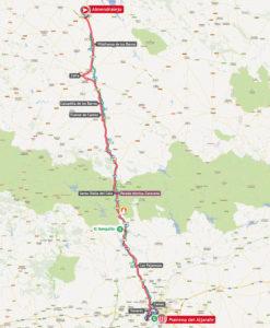 Mapa de la séptima etapa de la Vuelta a España.