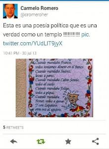 Twitter de Carmelo Romero, diputado del PP y alcalde de Palos.