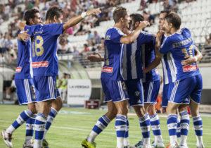 Futbolistas del Recreativo celebrando un gol. (www.recreativohuelva.com)