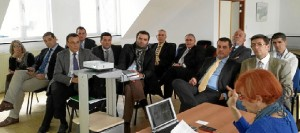La delegación onubense socialista, con Ignacio Caraballo al frente, en Bruselas.