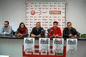 Rueda de prensa en la que se anuncia la movilización de la Cumbre Social en Huelva.