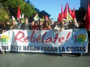 Presencia de dirigentes y militantes de IU en la manifestación.