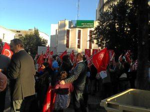 Representantes de UGT en la concentración de protesta.