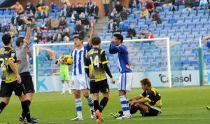Expulsión de Montoro, que fue clave en el partido ante el Sabadell. (Espínola)