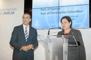 El presidente de la Diputación y del Patronato con la presidenta del Puerto.