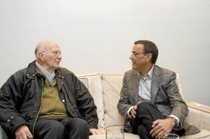 Oliva y Caraballo durante el encuentro.