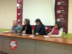 Rueda de prensa en la sede de UGT.